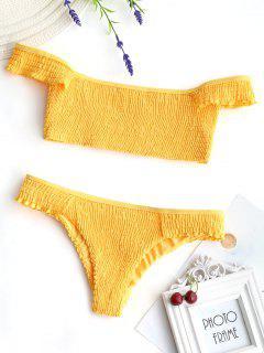 Schulterfreier Rüschen Smocked Bikini - Gelb S