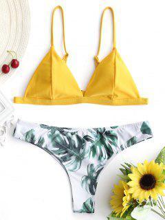 Haut De Bikini Rembourré Avec Bas De Maillot Imprimé Feuilles De Palmier - Moutarde L