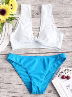 Knotted Two Tone Bathing Suit - Lake Blue S