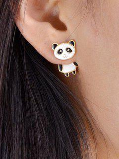 Animal Panda Shape Stud Earrings - White
