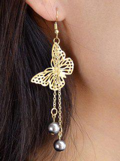 Butterfly Ball Embellished Drop Earrings - Golden