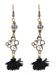 Hollow Out Bead Decorated Floral Drop Earrings - Black
