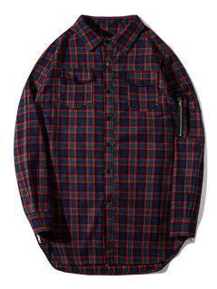 Flap Pockets Side Zipper Plaid Shirt - Plaid L