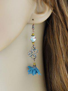 Hollow Out Bead Decorated Floral Drop Earrings - Blue