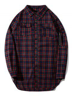 Flap Pockets Side Zipper Plaid Shirt - Plaid M