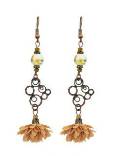 Hollow Out Bead Decorated Floral Drop Earrings - Orange