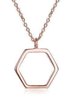 Collier En Argent Motif Hexagone  - Or De Rose