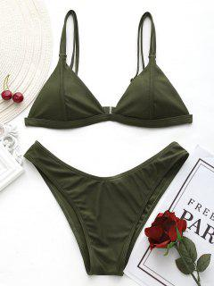 Cami High Cut Thong Bikini Set - Army Green M