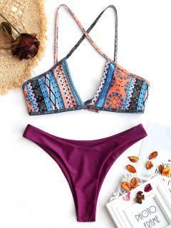 Cross Back Patchwork Print Thong Bikini - Red L