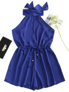 High Neck Cut Out Sleeveless Romper - Deep Blue L