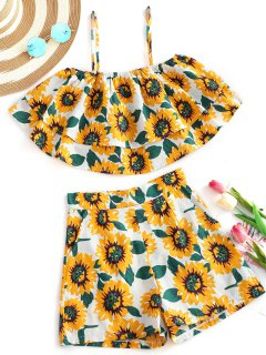 Sunflower Tiered Cami Top And Shorts Set - Floral M