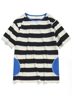 Striped Short Sleeve T-shirt - White And Black L