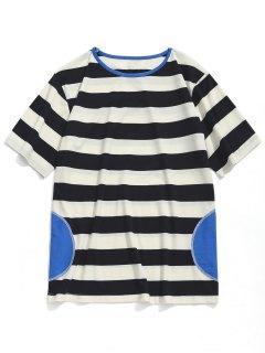 Camiseta De Manga Corta A Rayas - Blanco Y Negro L