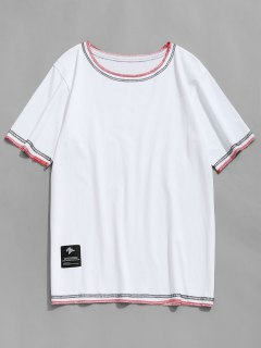 Costura De Manga Corta Camiseta - Blanco Xl