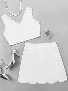 V Neck Top With Scalloped Edge Skirt - White S