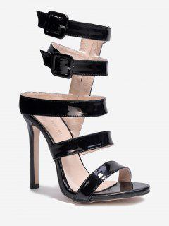 Patent Leather Buckled Gladiator Sandals - Black 39