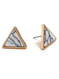 Marble Triangle Alloy Stud Earrings - White