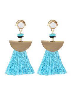 Boho Tassel Metal Sector Shape Dangle Earrings - Lake Blue