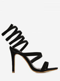 Stiletto Heel Strappy Gladiator Sandals - Black 40