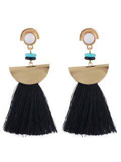 Boho Tassel Metal Sector Shape Dangle Earrings - Black