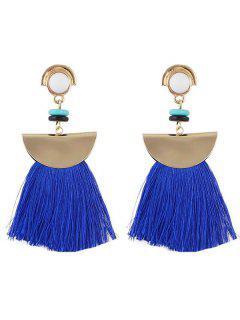 Boho Tassel Metal Sector Shape Dangle Earrings - Azul Profundo