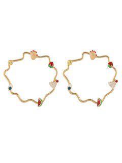 Cercle Creux Géométrique Avec Des Boucles D'oreilles De Charme - Or