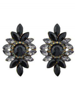 Floral Rhombic False Gem Embellished Stud Earrings - Black