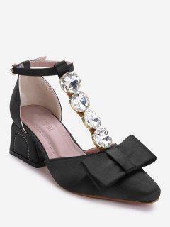 Rhinestone Bowknot Ankle Strap Pumps - Black 36
