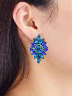 Pendientes De Perlas Adornadas Con Gemas Falsas Rómbicas Florales - Azul