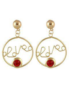Valentinstag Hoop Letter Love Faux Rubin Baumeln Ohrringe - Rot