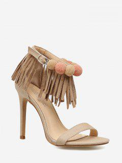 Fringes Ankle Strap Stiletto Heel Sandals - Apricot 36