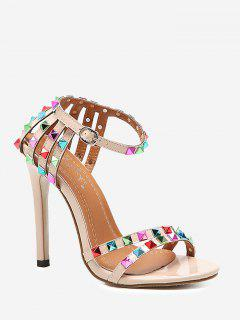 Rivets High Heel Sandals - Apricot 40