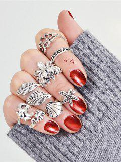 8Pcs Vintage Animal Leaf Cuff Rings - Silver