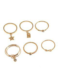 6Pcs Faux Crystal Infinity Star Alloy Rings - Golden