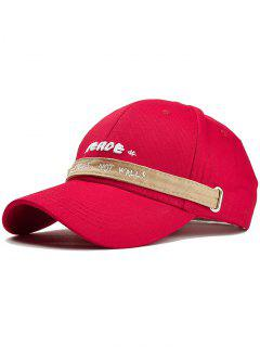 Letter Embroidery Long Band Baseball Cap - Red