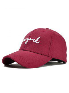 Unique Letter Embroidery Canvas Baseball Cap - Wine Red
