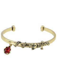 Faux Ruby Skull Sword Alloy Cuff Bracelet - Golden