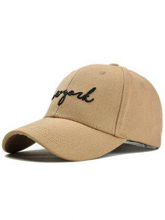 Unique Letter Embroidery Canvas Baseball Cap - Khaki