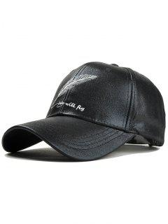 Feather Embroidery Faux Leather Baseball Hat - Black