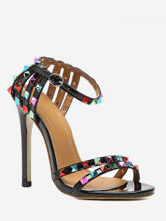 Rivets High Heel Sandals - Black 36