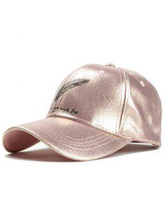 Feather Embroidery Faux Leather Baseball Hat - Pink
