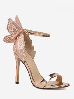 Stiletto Heel Ankle Strap Sandals - Champagne 36