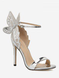 Stiletto Heel Ankle Strap Sandals - Silver 36