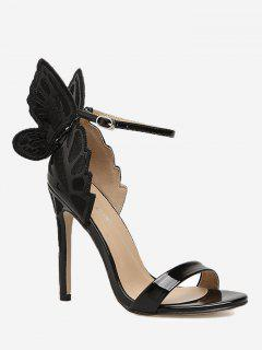 Stiletto Heel Ankle Strap Sandals - Black 36
