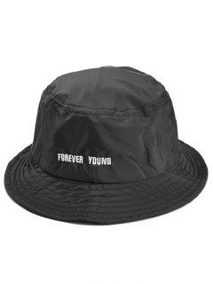 Forever Young Pattern Embroidery Bucket Hat - Black