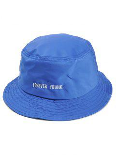 Forever Young Pattern Embroidery Bucket Hat - Blue