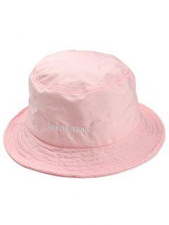 Forever Young Pattern Embroidery Bucket Hat - Pink
