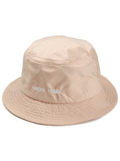 Forever Young Pattern Embroidery Bucket Hat - Beige
