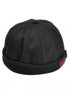 NEVER Pattern Embroidery Magic Sticker Beret - Black
