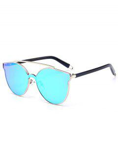 Metal Full Frame Crossbar Decorated Cat Eye Sunglasses - Silver Frame+blue Mercury Lens